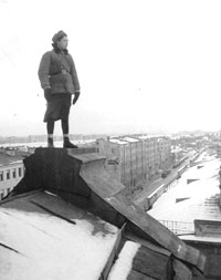 Roof-top fire watch during the Siege of Leningrad (SCRSS Photo Library)