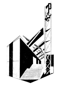 Design by Melnikov for USSR Pavilion at Paris Exposition of Decorative and Industrial Arts 1925 (SCRSS Library)
